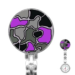 Purple and gray abstraction Stainless Steel Nurses Watch