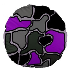 Purple and gray abstraction Large 18  Premium Flano Round Cushions