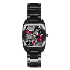 Decorative abstraction Stainless Steel Barrel Watch