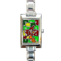 Africa abstraction Rectangle Italian Charm Watch