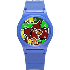Africa abstraction Round Plastic Sport Watch (S)
