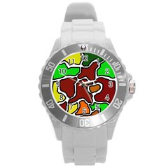 Africa abstraction Round Plastic Sport Watch (L)