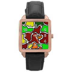 Africa abstraction Rose Gold Leather Watch