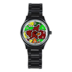 Africa abstraction Stainless Steel Round Watch