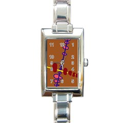 Brown abstraction Rectangle Italian Charm Watch