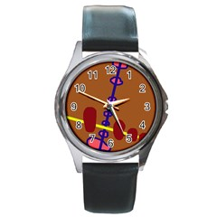 Brown abstraction Round Metal Watch
