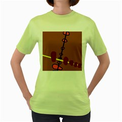 Brown abstraction Women s Green T-Shirt