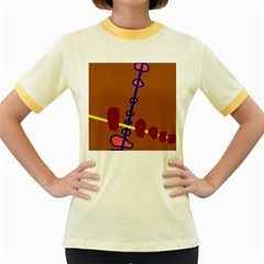 Brown abstraction Women s Fitted Ringer T-Shirts