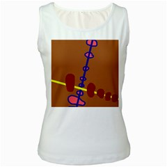 Brown abstraction Women s White Tank Top