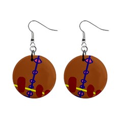 Brown abstraction Mini Button Earrings