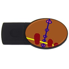 Brown abstraction USB Flash Drive Oval (2 GB)