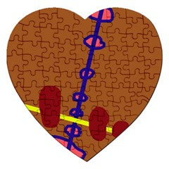 Brown abstraction Jigsaw Puzzle (Heart)