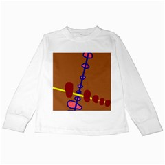 Brown abstraction Kids Long Sleeve T-Shirts