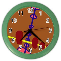 Brown abstraction Color Wall Clocks