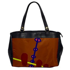 Brown abstraction Office Handbags