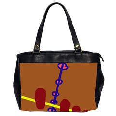 Brown abstraction Office Handbags (2 Sides)
