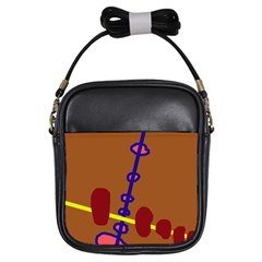 Brown abstraction Girls Sling Bags
