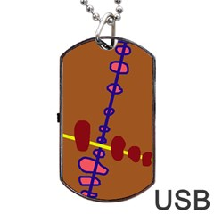 Brown abstraction Dog Tag USB Flash (Two Sides)