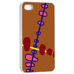 Brown abstraction Apple iPhone 4/4s Seamless Case (White)