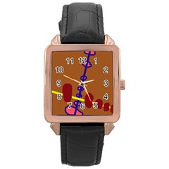 Brown abstraction Rose Gold Leather Watch