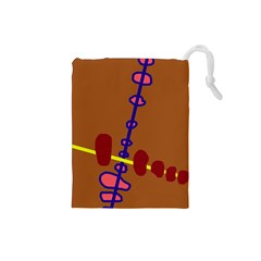 Brown abstraction Drawstring Pouches (Small)