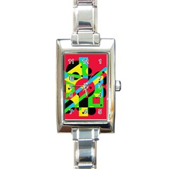 Colorful geometrical abstraction Rectangle Italian Charm Watch
