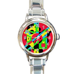 Colorful geometrical abstraction Round Italian Charm Watch