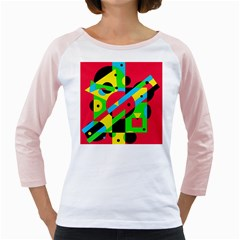 Colorful geometrical abstraction Girly Raglans