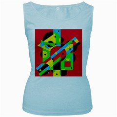 Colorful geometrical abstraction Women s Baby Blue Tank Top