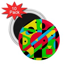 Colorful geometrical abstraction 2.25  Magnets (10 pack)