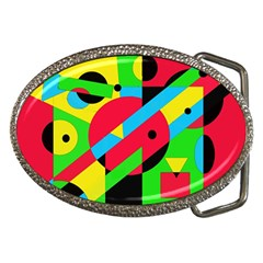 Colorful geometrical abstraction Belt Buckles