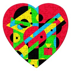 Colorful geometrical abstraction Jigsaw Puzzle (Heart)
