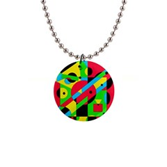 Colorful geometrical abstraction Button Necklaces