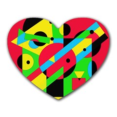 Colorful geometrical abstraction Heart Mousepads