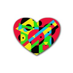 Colorful geometrical abstraction Heart Coaster (4 pack)