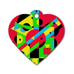 Colorful geometrical abstraction Dog Tag Heart (Two Sides)