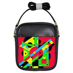 Colorful geometrical abstraction Girls Sling Bags
