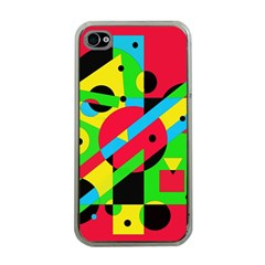 Colorful geometrical abstraction Apple iPhone 4 Case (Clear)