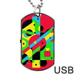 Colorful geometrical abstraction Dog Tag USB Flash (Two Sides)