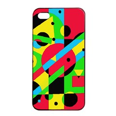 Colorful geometrical abstraction Apple iPhone 4/4s Seamless Case (Black)