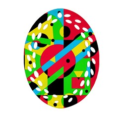 Colorful geometrical abstraction Oval Filigree Ornament (2-Side)