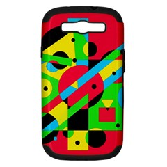 Colorful geometrical abstraction Samsung Galaxy S III Hardshell Case (PC+Silicone)