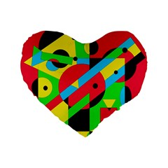 Colorful geometrical abstraction Standard 16  Premium Heart Shape Cushions