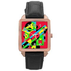 Colorful geometrical abstraction Rose Gold Leather Watch