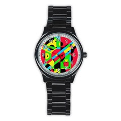 Colorful geometrical abstraction Stainless Steel Round Watch