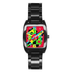 Colorful geometrical abstraction Stainless Steel Barrel Watch