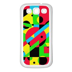 Colorful geometrical abstraction Samsung Galaxy S3 Back Case (White)