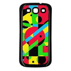 Colorful geometrical abstraction Samsung Galaxy S3 Back Case (Black)