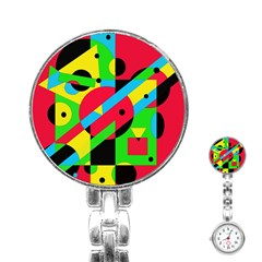 Colorful geometrical abstraction Stainless Steel Nurses Watch