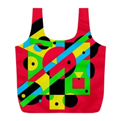 Colorful geometrical abstraction Full Print Recycle Bags (L)
